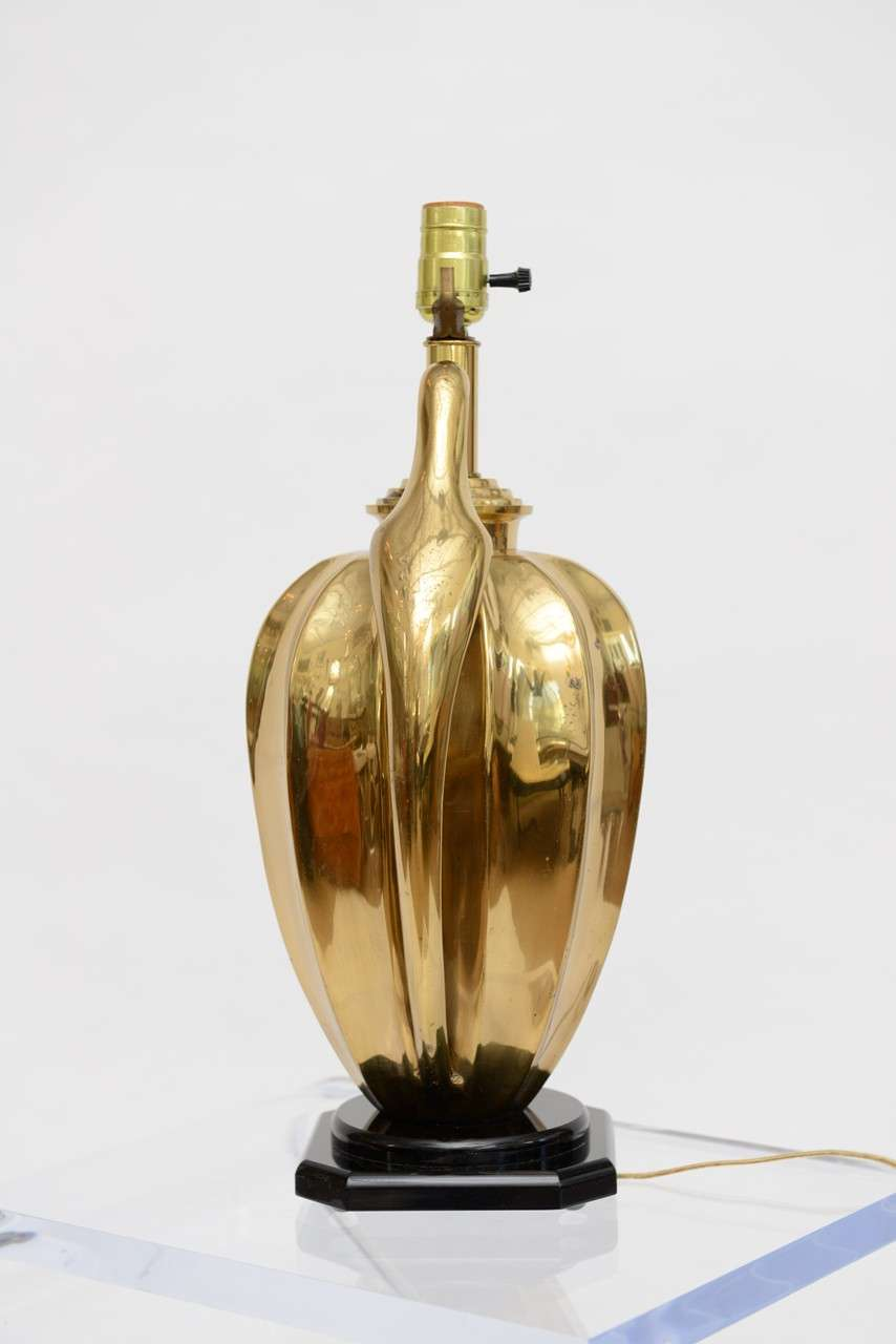 Iconic art deco era regally draped brass parrot lamp for Iconic design lamps