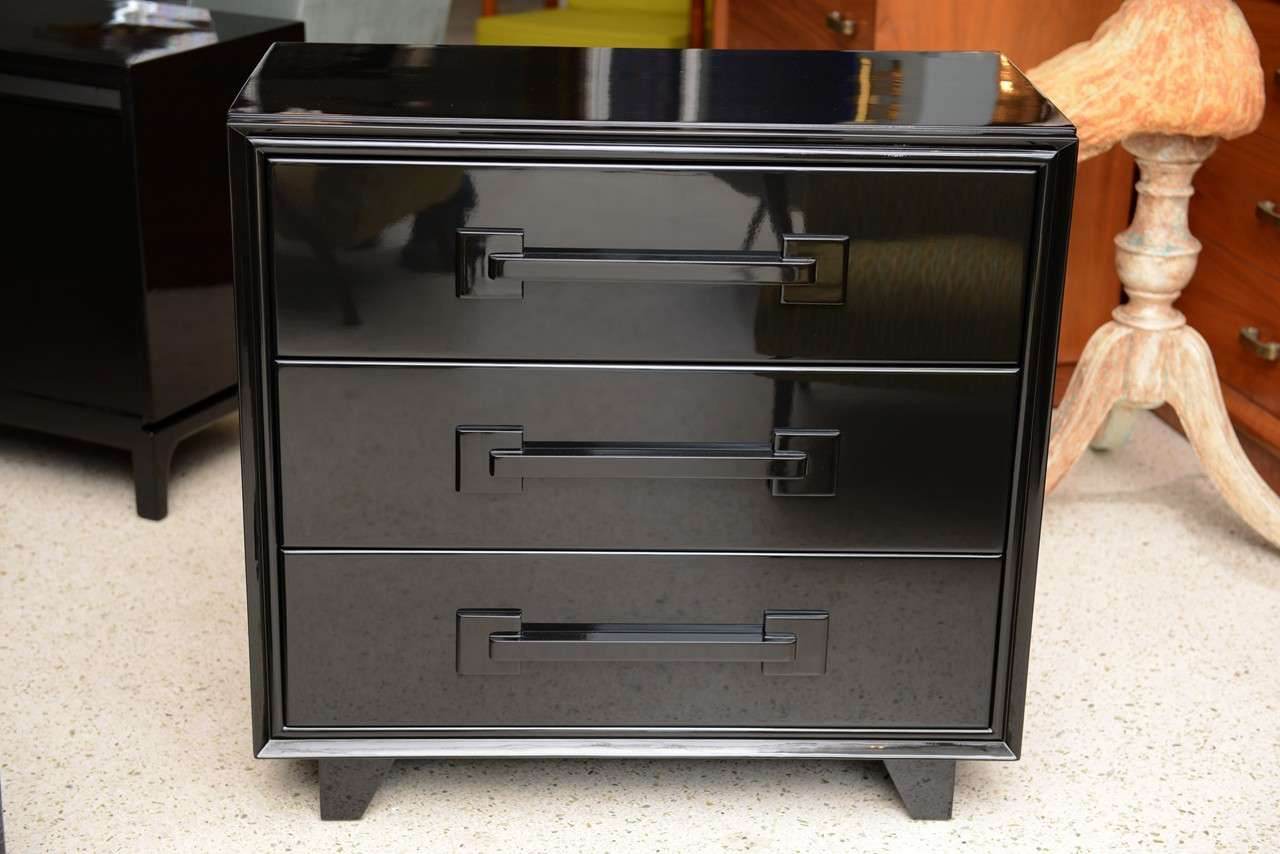 an italian modern black lacquer  drawer chest at stdibs - an italian modern black lacquer  drawer chest