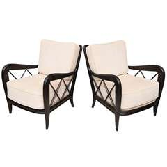 A Pair of Paolo Buffa Ebonized Armchairs, Italy, 1950s