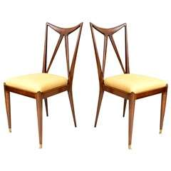 A Pair of Guglielmo Ulrich Mahogany Side Chairs, Italy, 1950s
