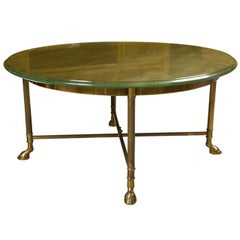 Mid-Century Round Gilt Glass Top Coffee Table Bronze Base Manner Jansen