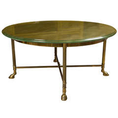 Mid-Century Glass Top Coffee Table Manner Jansen