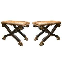 Pair of Russian Neoclassical Style X-form Benches