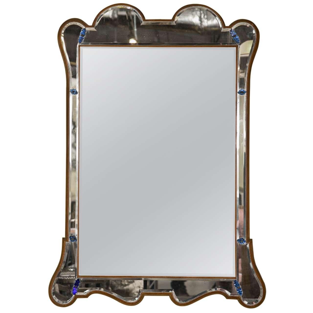 Elegant hollywood regency style mirror at 1stdibs for Elegant mirrors