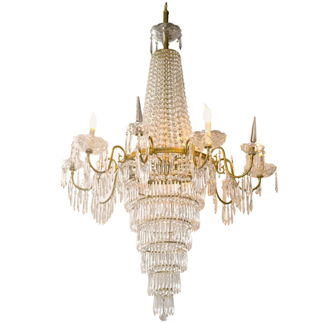 French Empire Style Crystal Chandelier Nine Bronze Arms With Prisms And Bobeches