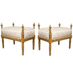 Pair of French Louis XVI Style Painted Benches 1940s Painted In Faux Finish