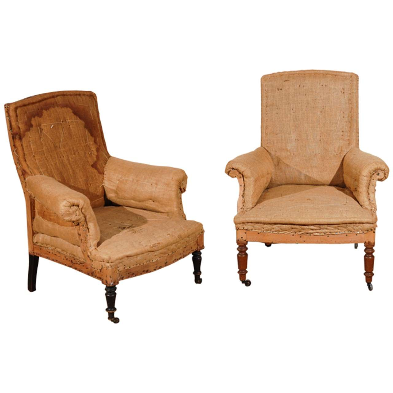 Antique French Chairs. Original Burlap And Horsehair. For Sale