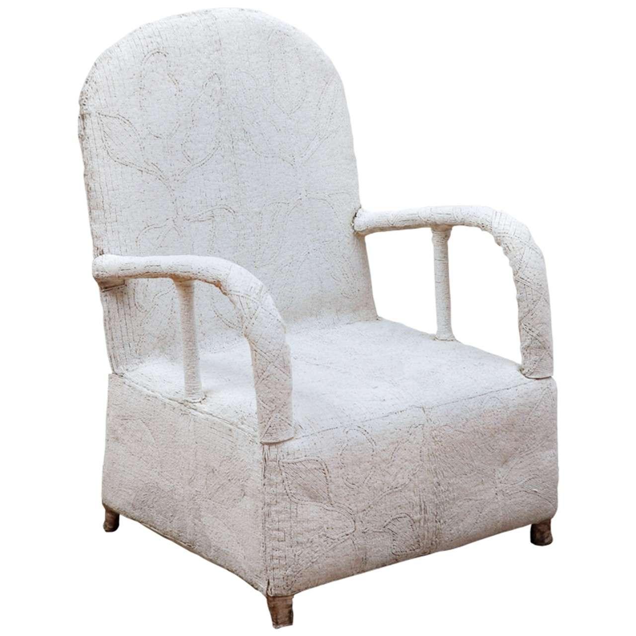 White Beaded Yoruba Chair For Sale