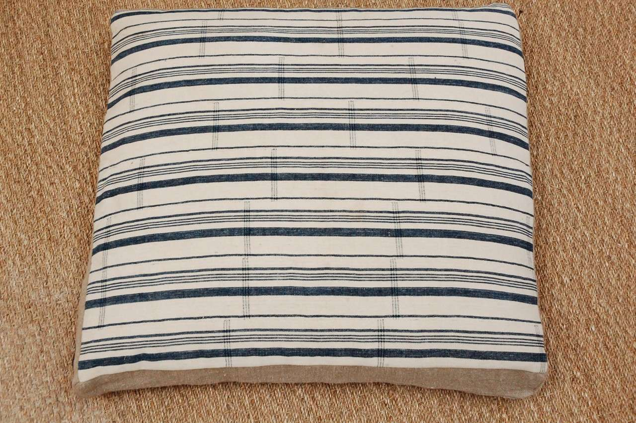 Vintage Floor Pillows : Vintage Nigerian Striped Fabric Floor Pillows at 1stdibs