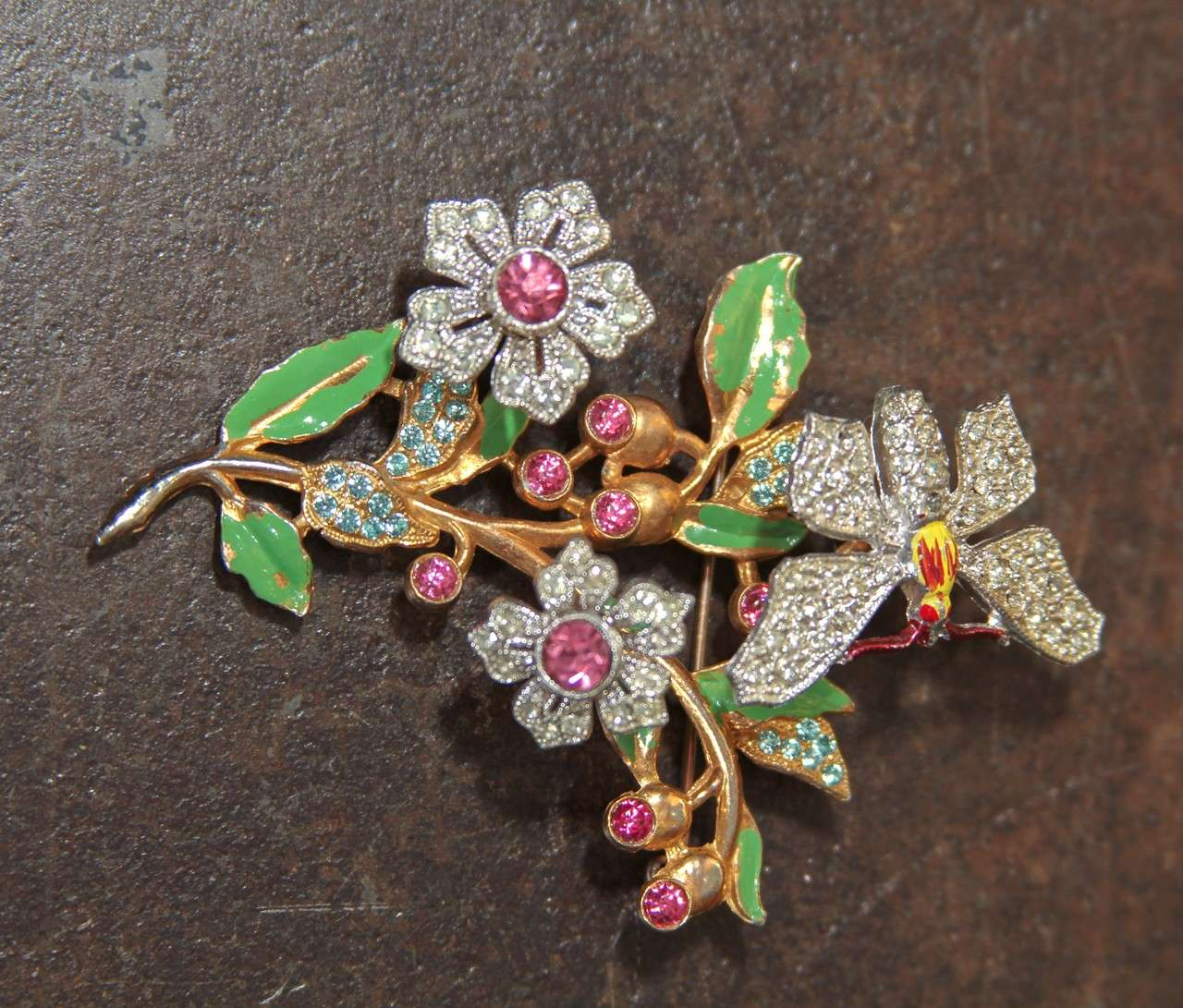 "Sweet vintage trembler pin butterfly and flowers ""tremble"". A very happy little treasure."