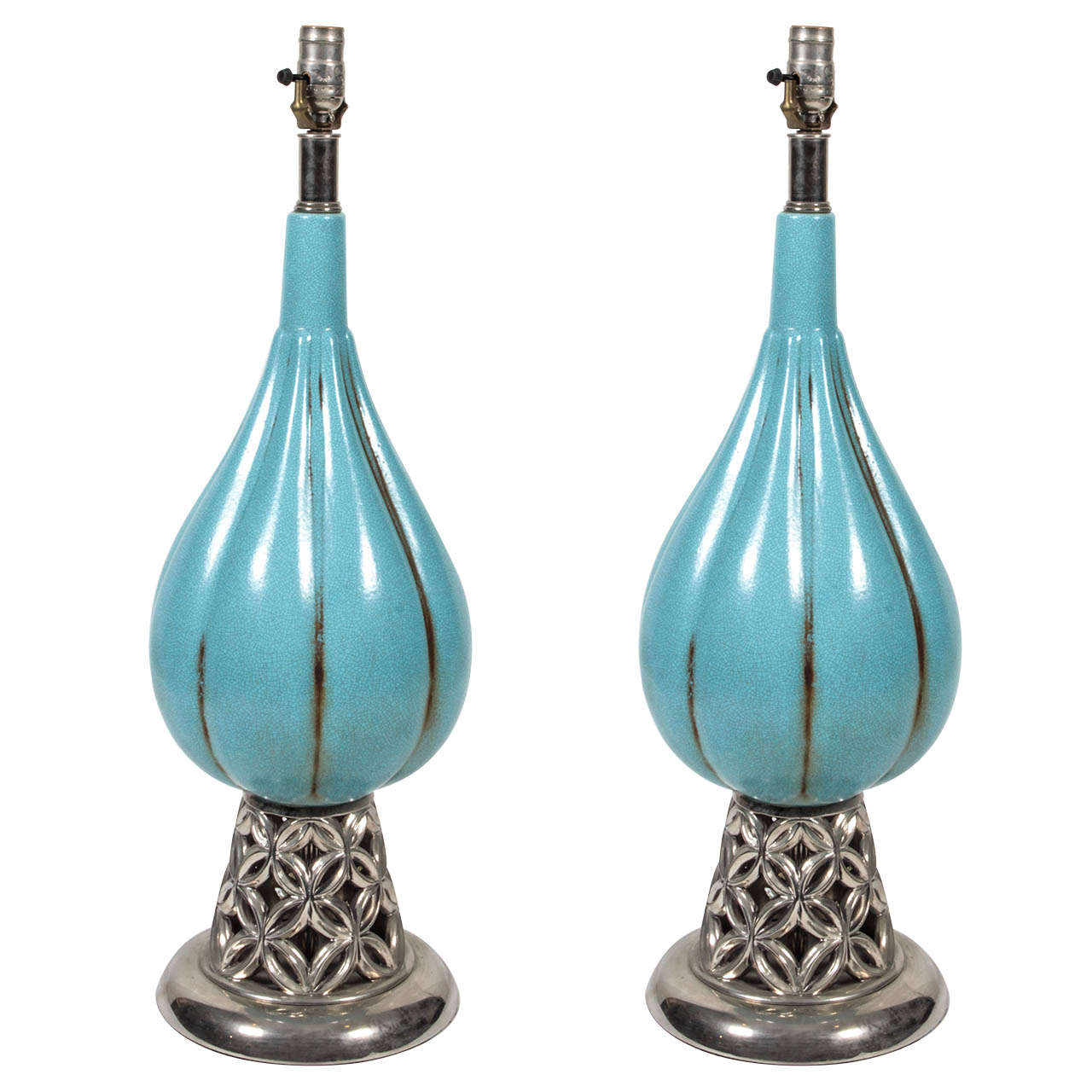 Pair of 1940s Lamps For Sale