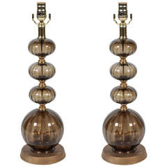 Pair of 1940s Glass Lamps