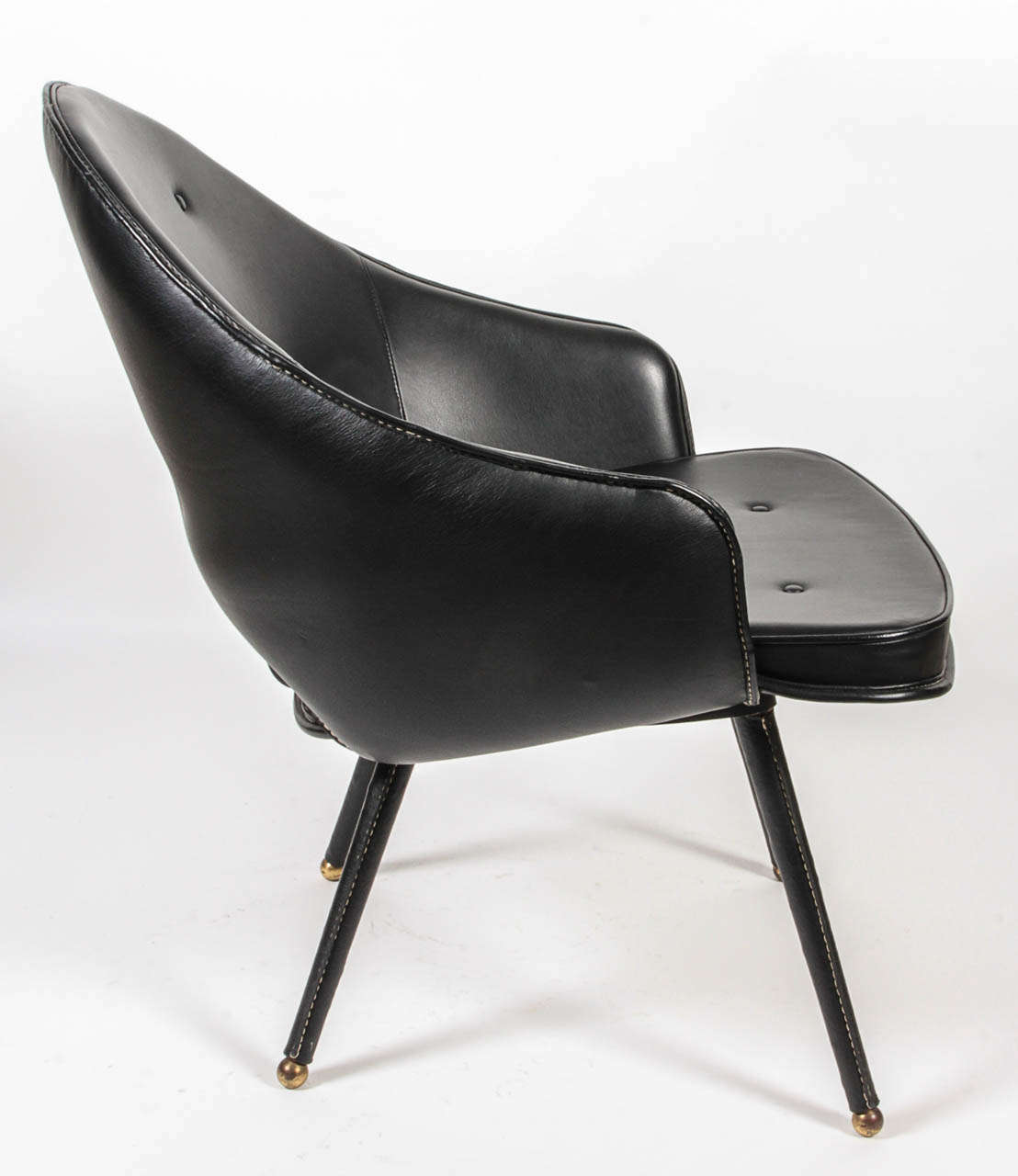 French 1950s Stitched Leather Armchair by Jacques Adnet For Sale