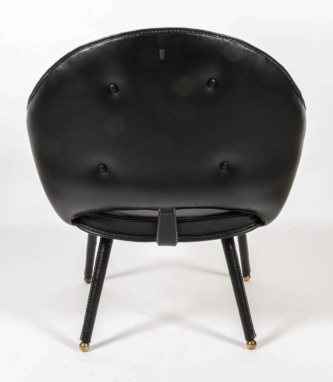 1950s Stitched Leather Armchair by Jacques Adnet In Excellent Condition For Sale In New York, NY
