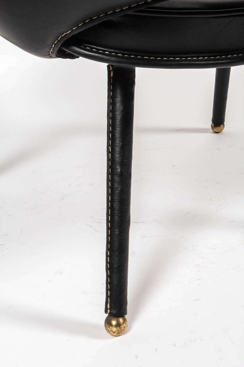 Mid-20th Century 1950s Stitched Leather Armchair by Jacques Adnet For Sale