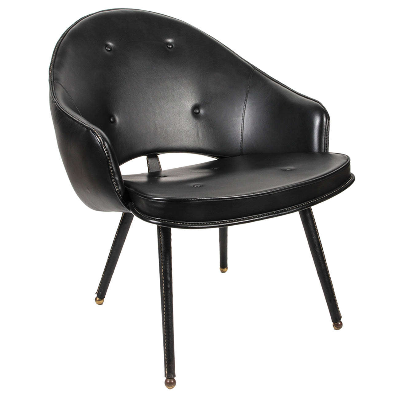 1950s Stitched Leather Armchair by Jacques Adnet