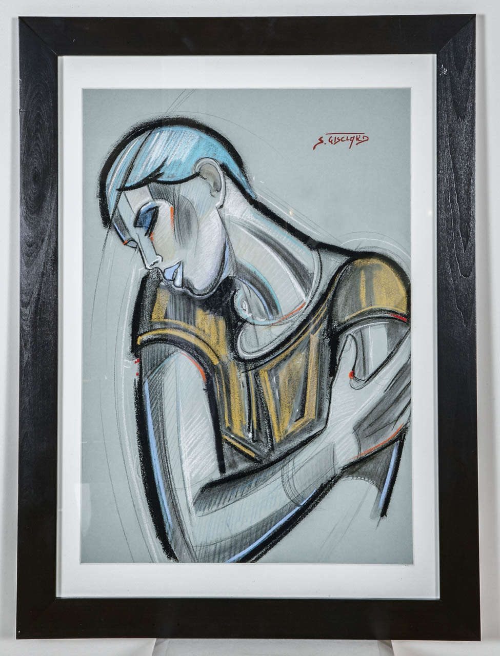 French contemporary pastel representing a young woman with an urchin cut ('coupe à la garçonne'). Signed on the top right. Pastel dimension: 42cm x 60cm. Black frame dimension: 58cm x 78cm.