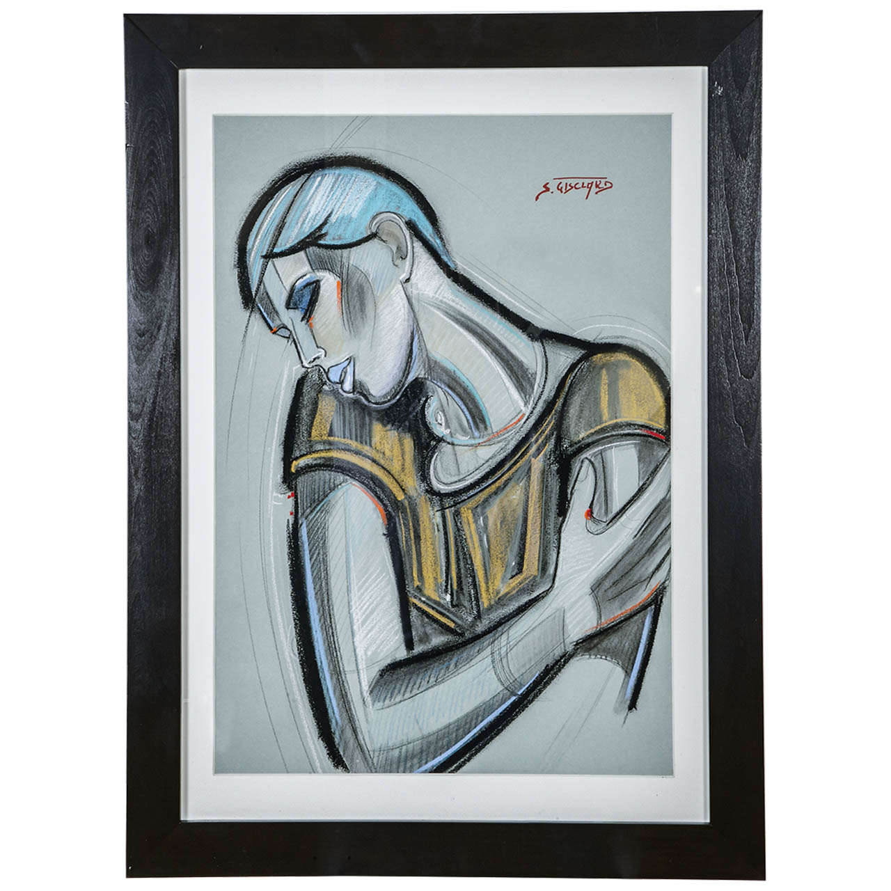 'La Garçonne' Pastel by S. Gisclard For Sale
