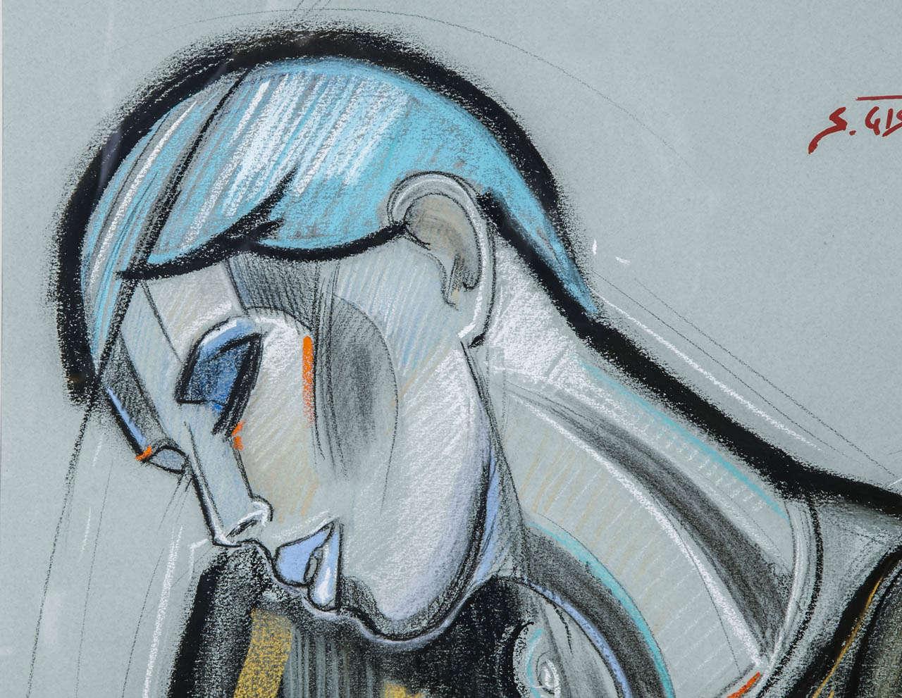 'La Garçonne' Pastel by S. Gisclard In Excellent Condition For Sale In Paris, FR