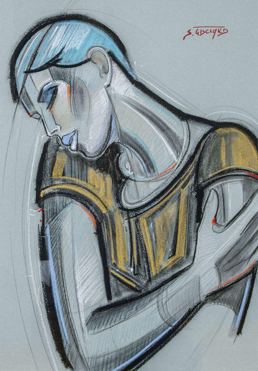 Contemporary 'La Garçonne' Pastel by S. Gisclard For Sale