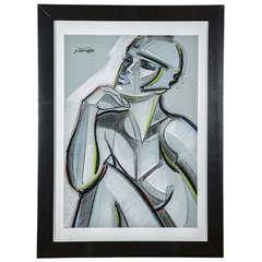 'Jeune Femme au Casque' Pastel by S. Gisclard