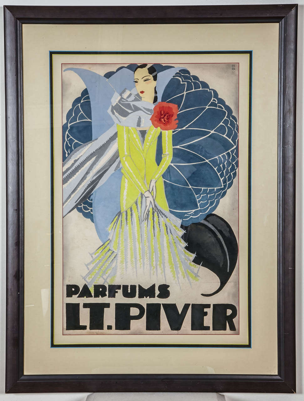Original watercolor for an advertising project for the LT. Piver perfumes. PERA signature on the top right front. Circa 1925. Dimension without frame and at sight: 38cm x 58cm.