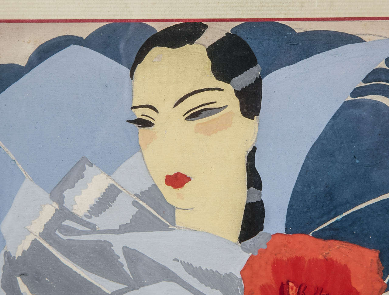 French Circa 1925 Oirignal Watercolor for a Perfume Advertising Project by Pera For Sale