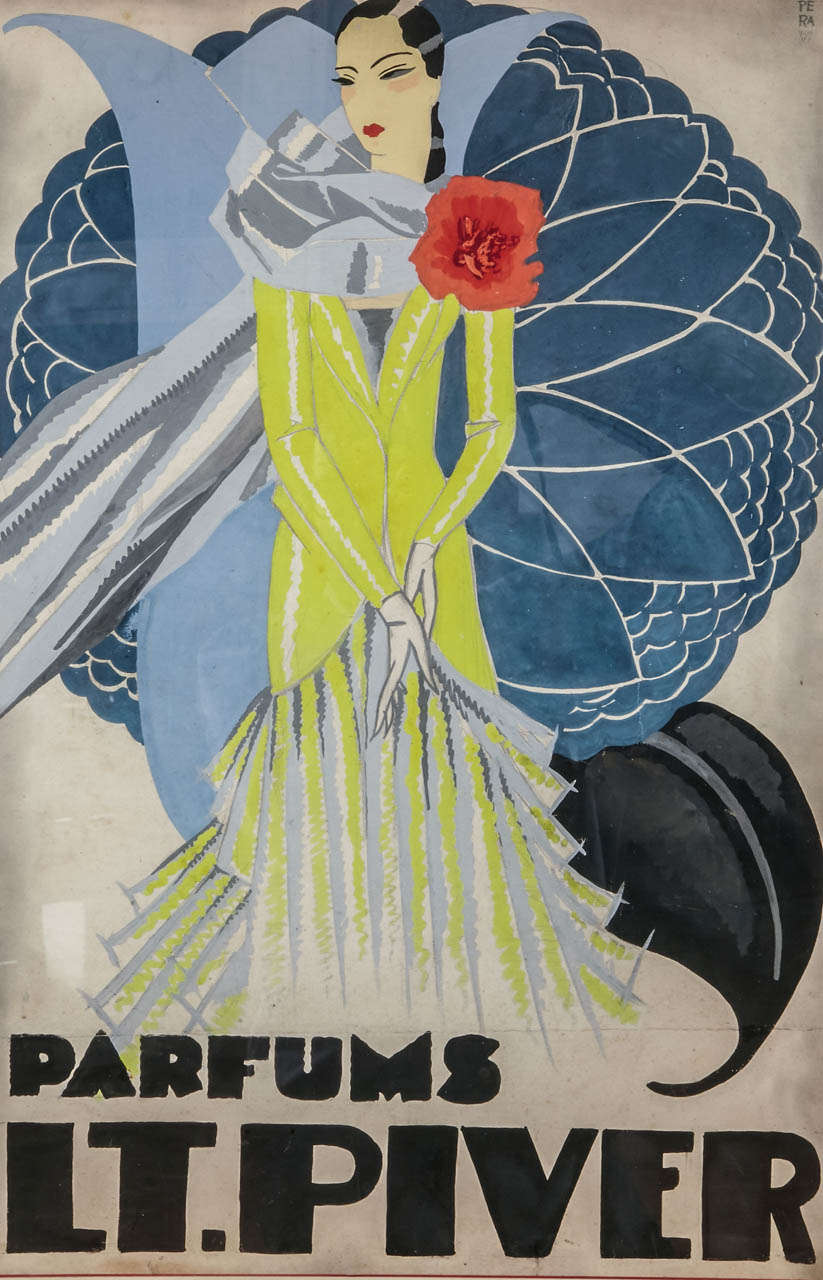 Paper Circa 1925 Oirignal Watercolor for a Perfume Advertising Project by Pera For Sale