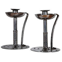 Pair of 1900's Candlesticks by Hugo Berger, Germany, Arts and Craft, circa 1910
