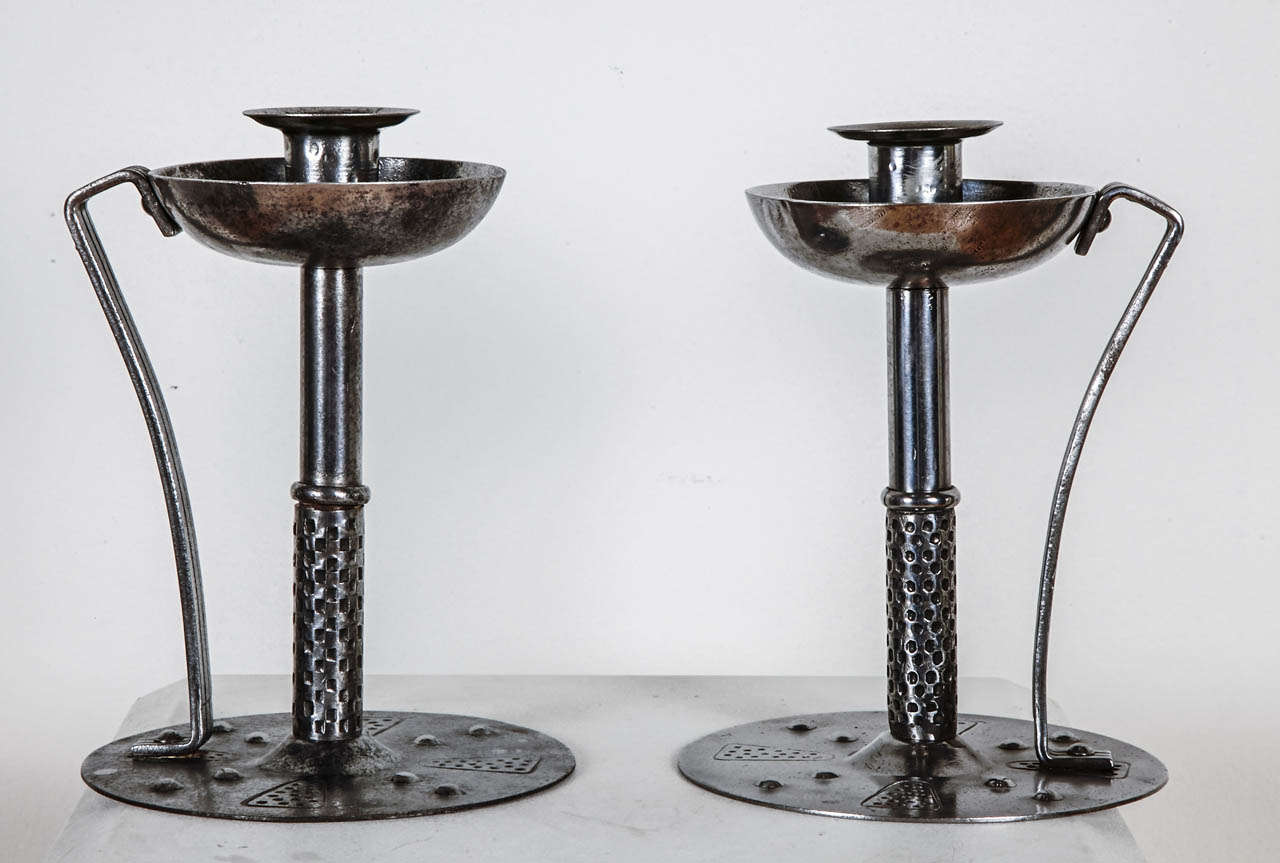 Arts and Crafts Pair of 1900's Candlesticks by Hugo Berger, Germany, Arts and Craft, circa 1910 For Sale