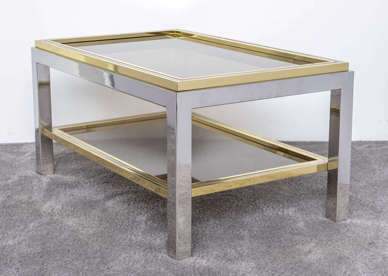 Mid-Century Modern Italian Mid Century Chrome and Brass Coffee Table in the Style of Willy Rizzo For Sale
