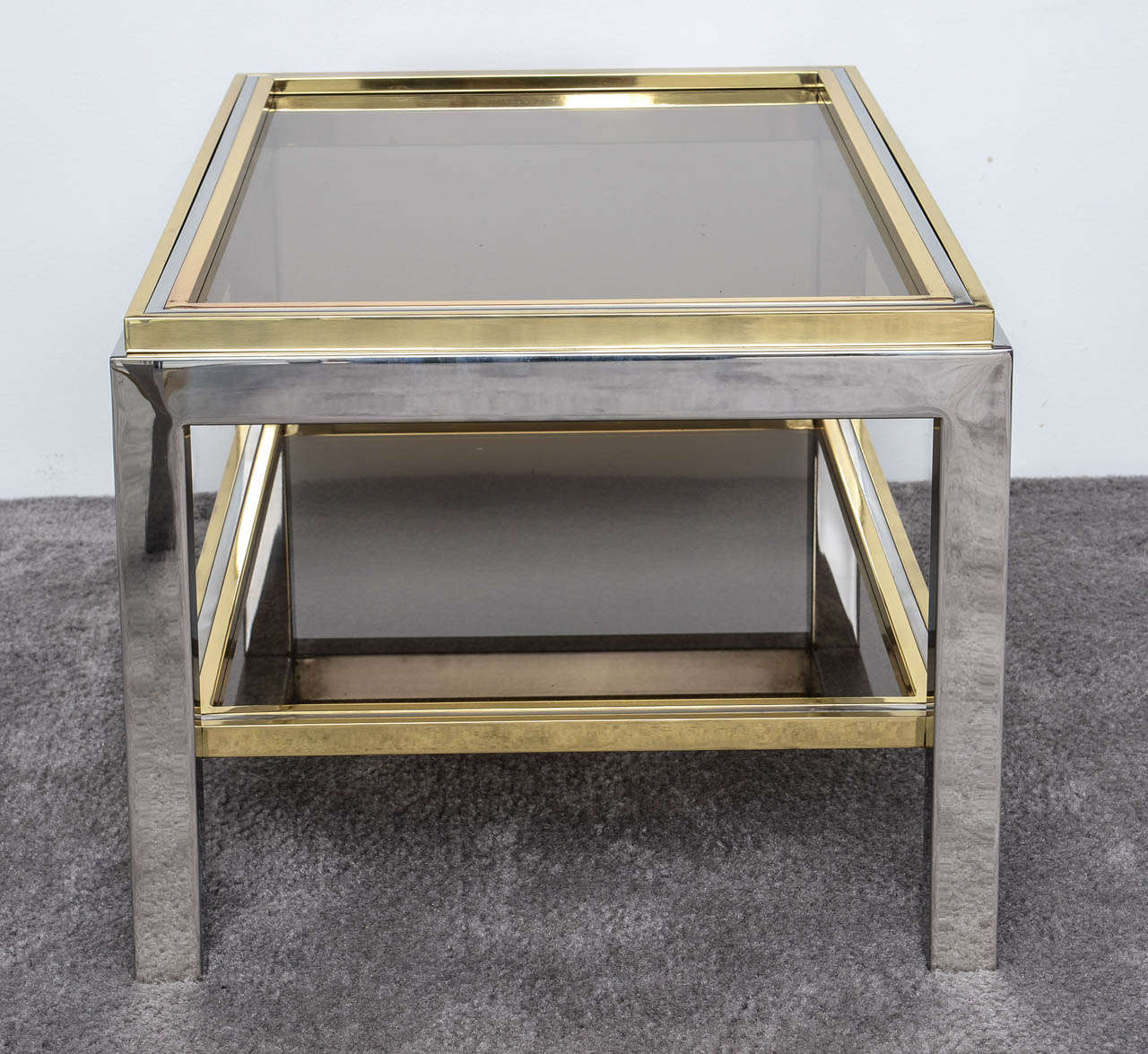 Italian Mid Century Chrome and Brass Coffee Table in the Style of Willy Rizzo In Good Condition For Sale In Miami, FL