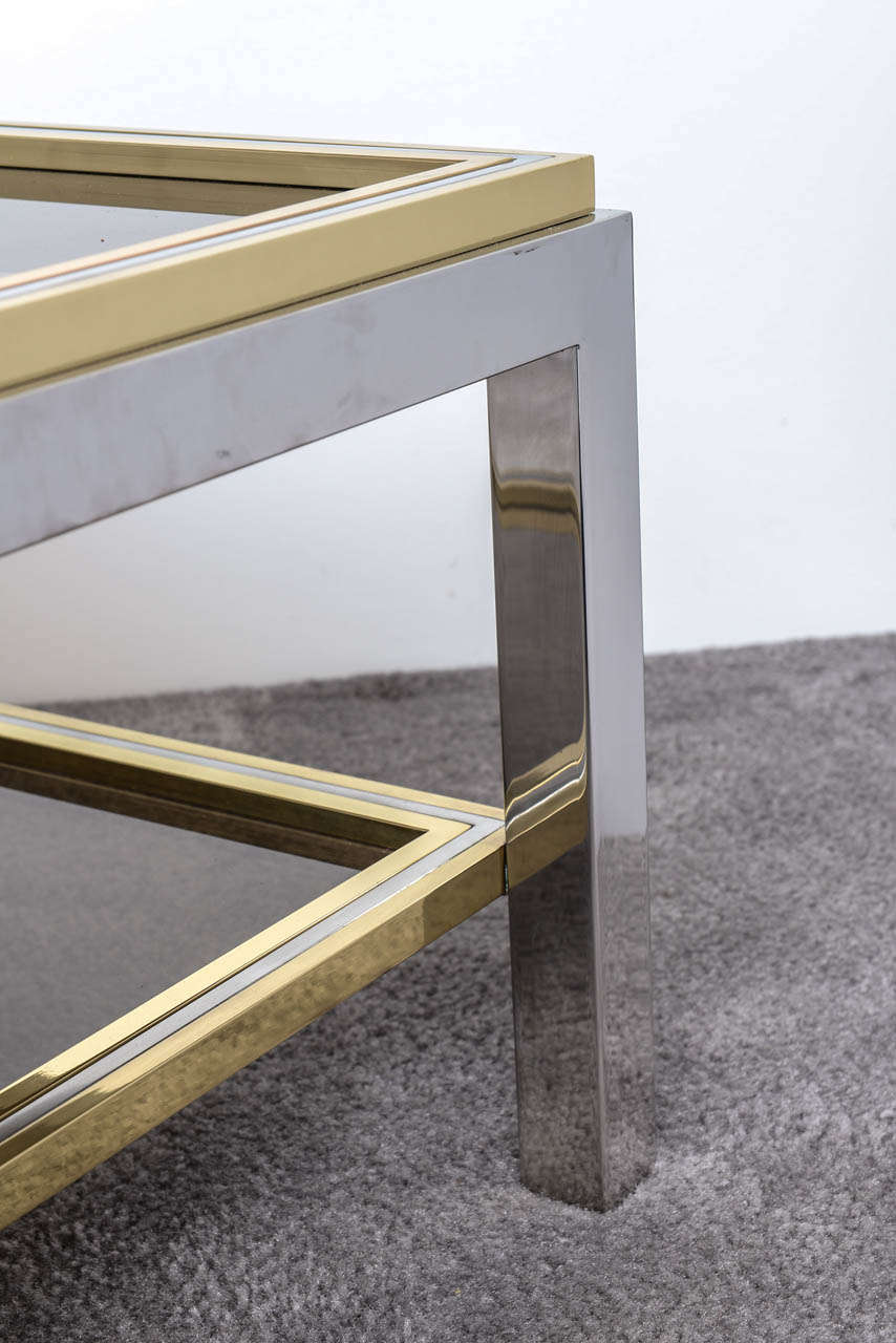 Late 20th Century Italian Mid Century Chrome and Brass Coffee Table in the Style of Willy Rizzo For Sale