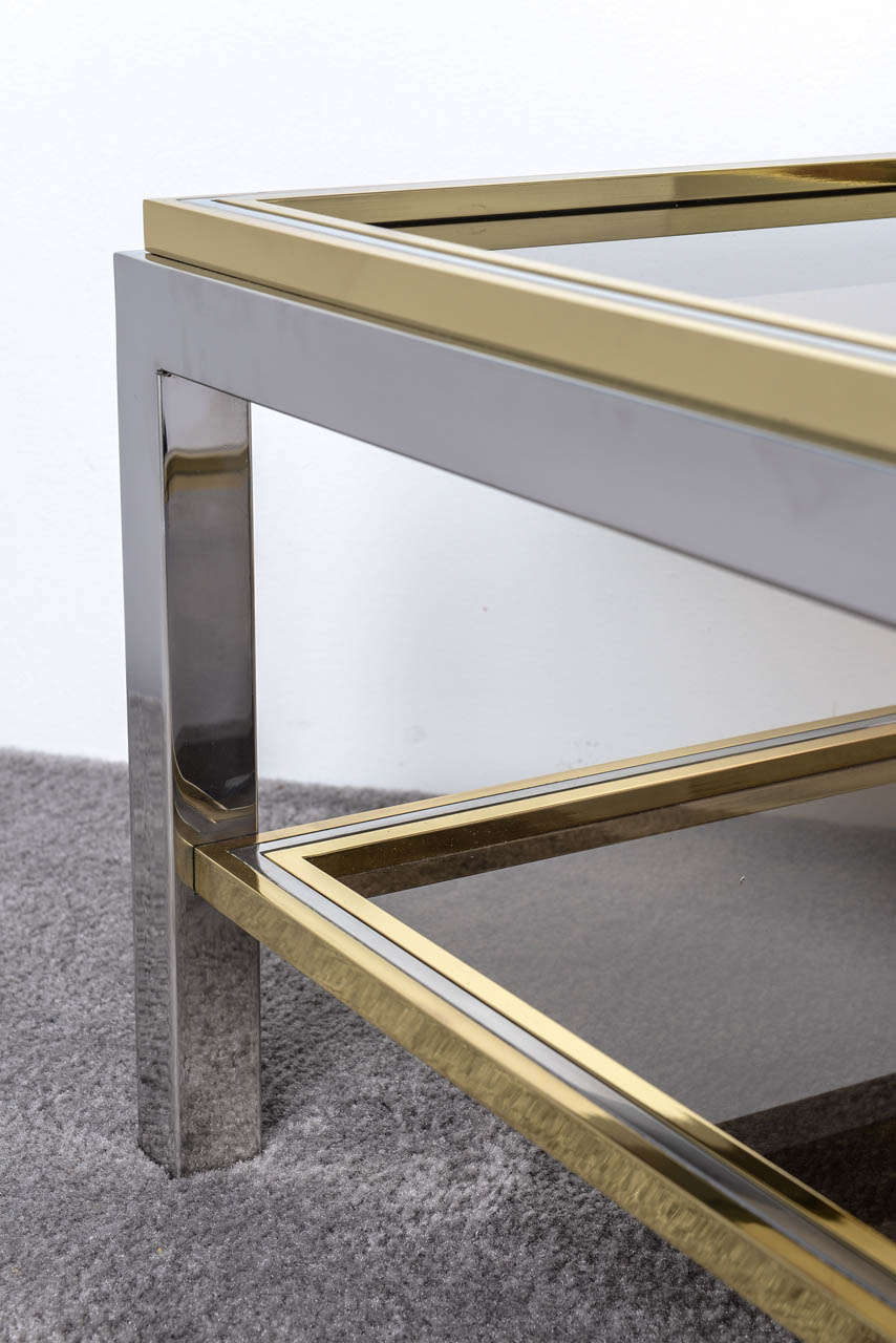 Italian Mid Century Chrome and Brass Coffee Table in the Style of Willy Rizzo For Sale 1