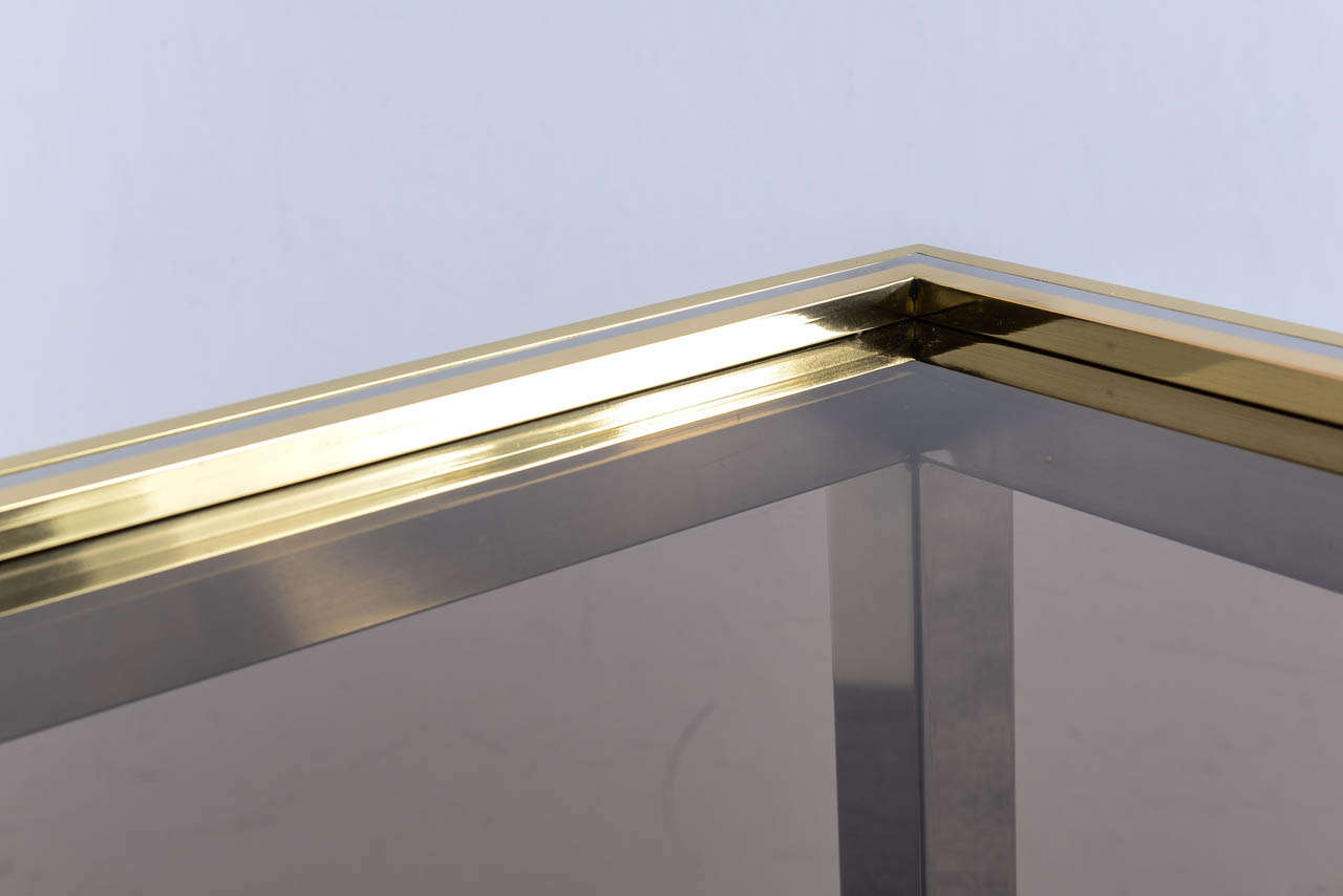 Italian Mid Century Chrome and Brass Coffee Table in the Style of Willy Rizzo For Sale 2