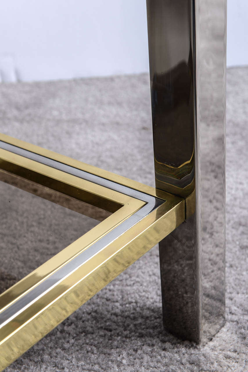 Italian Mid Century Chrome and Brass Coffee Table in the Style of Willy Rizzo For Sale 3