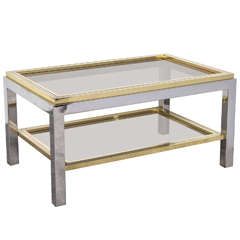 Italian Mid Century Chrome and Brass Coffee Table in the Style of Willy Rizzo