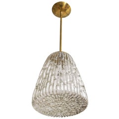 Sculptural Glass and Brass Pendant with Closed Bottom Detail by Kalmar
