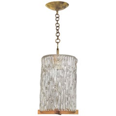 Textured Glass Pendant with Wood and Brass Detail by Kalmar