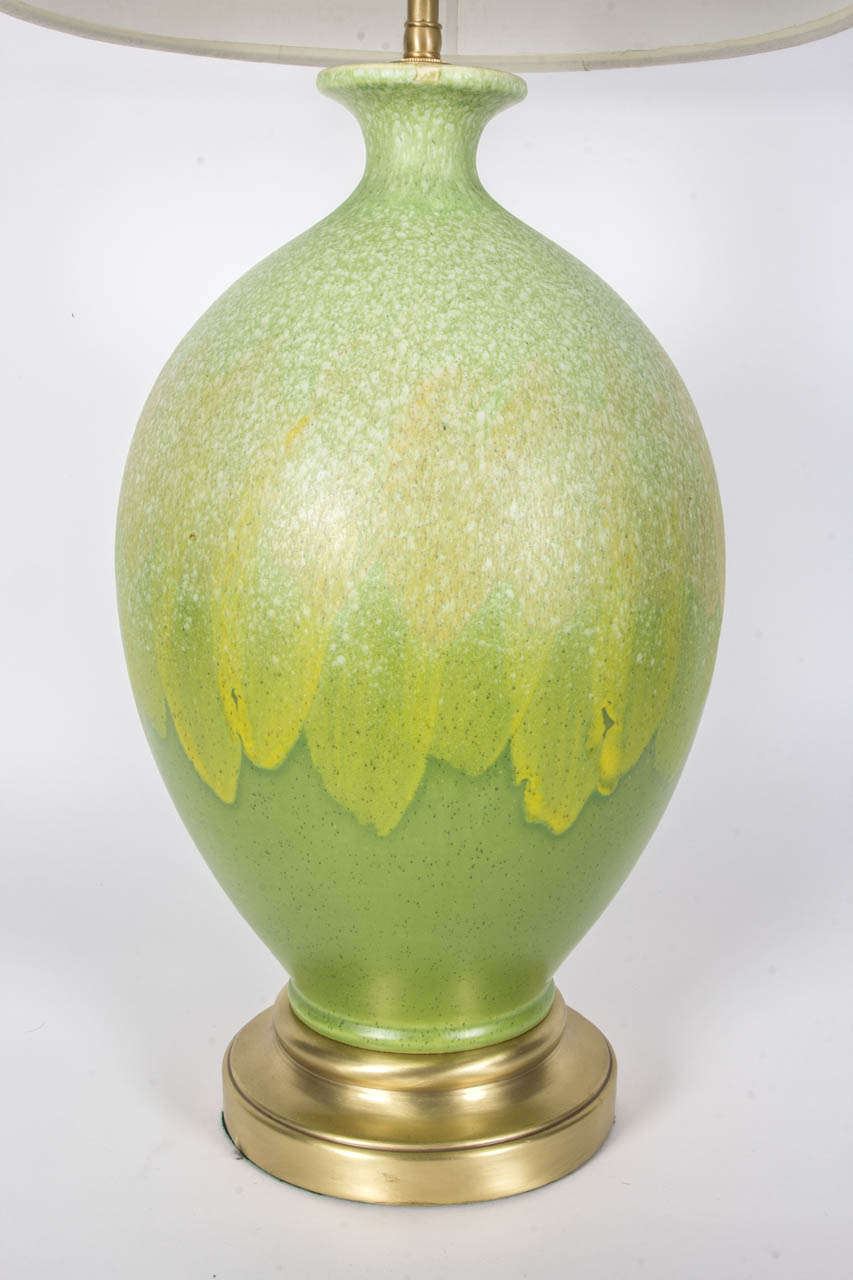 Italian Spring Green Glazed Ceramic Lamps In Excellent Condition For Sale In New York, NY