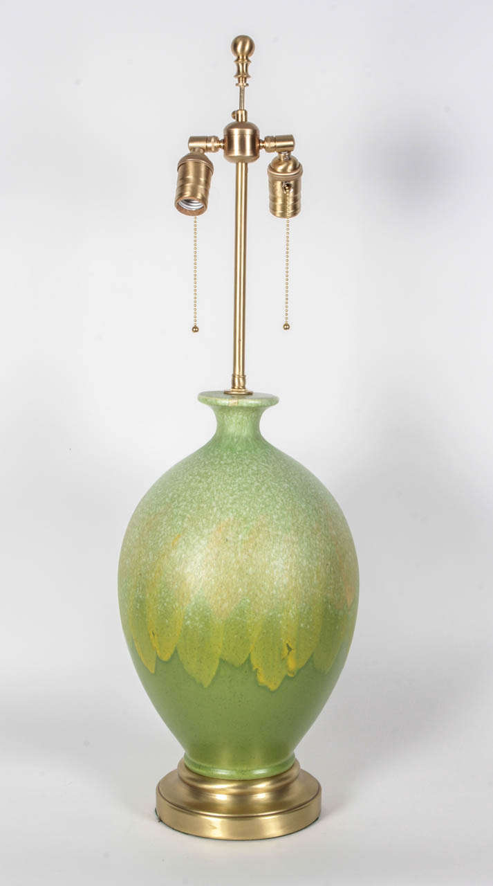 Pair of Vibrant Green Glazed Ceramic Lamps 5