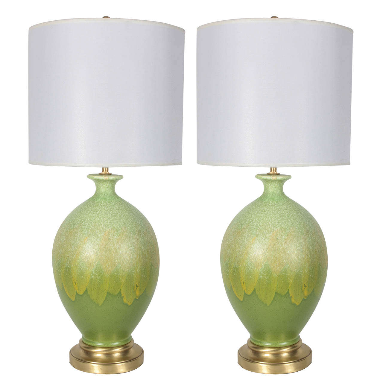 Pair of Vibrant Green Glazed Ceramic Lamps 1