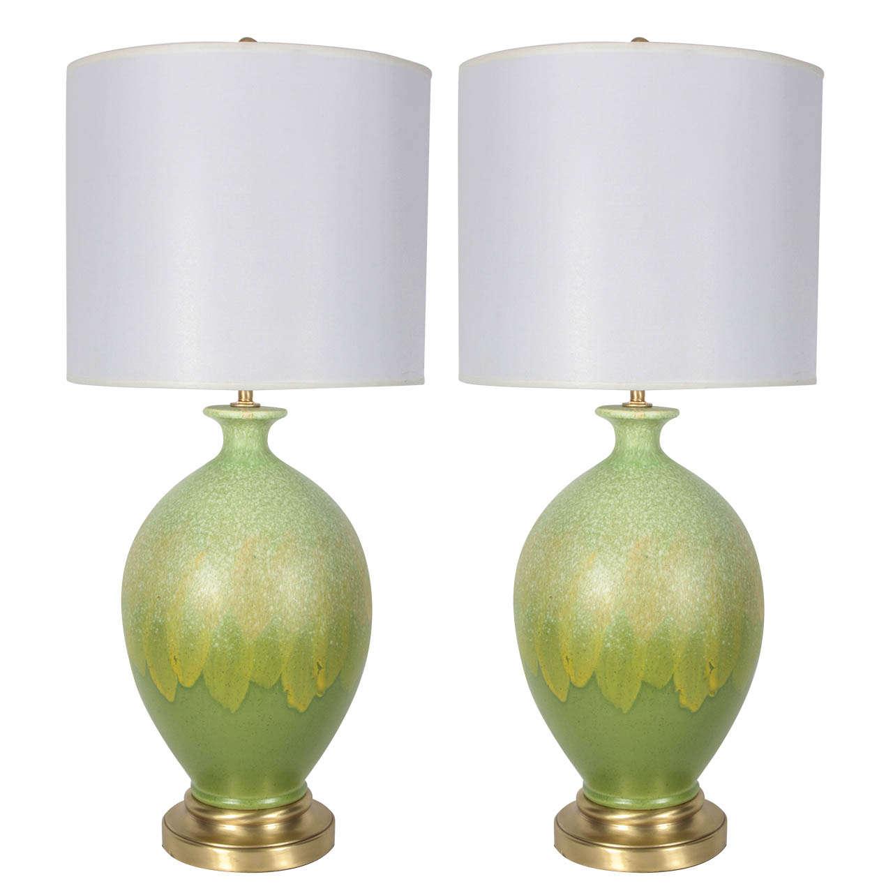 Italian Spring Green Glazed Ceramic Lamps