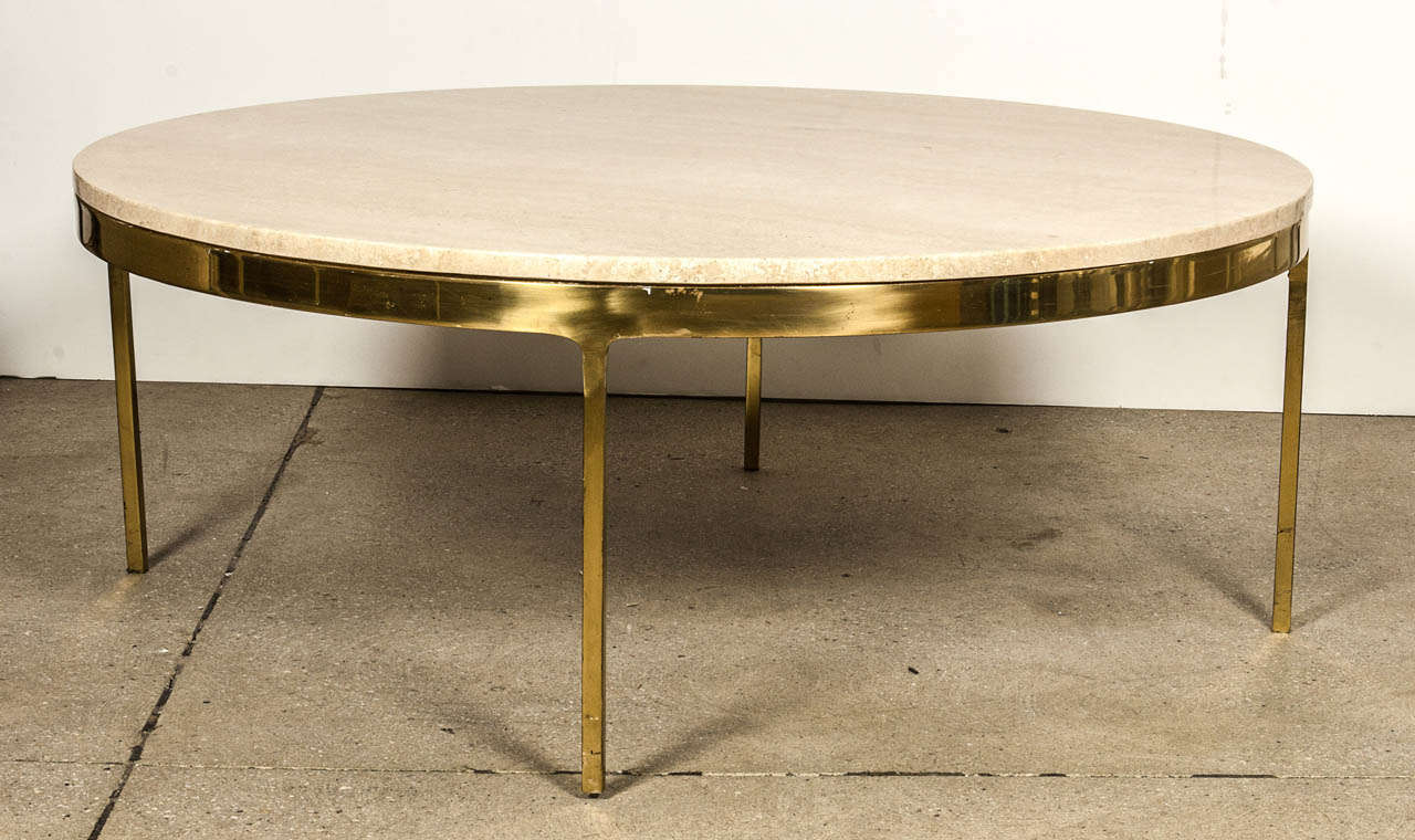 brass and travertine round coffee table by nico zographos at 1stdibs. Black Bedroom Furniture Sets. Home Design Ideas