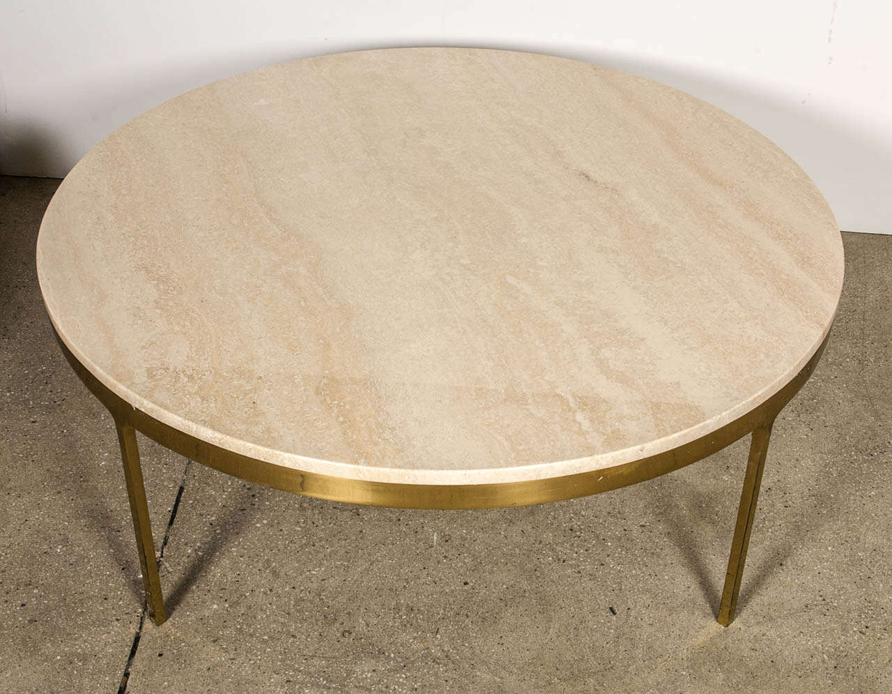 Brass And Travertine Round Coffee Table By Nico Zographos At 1stdibs