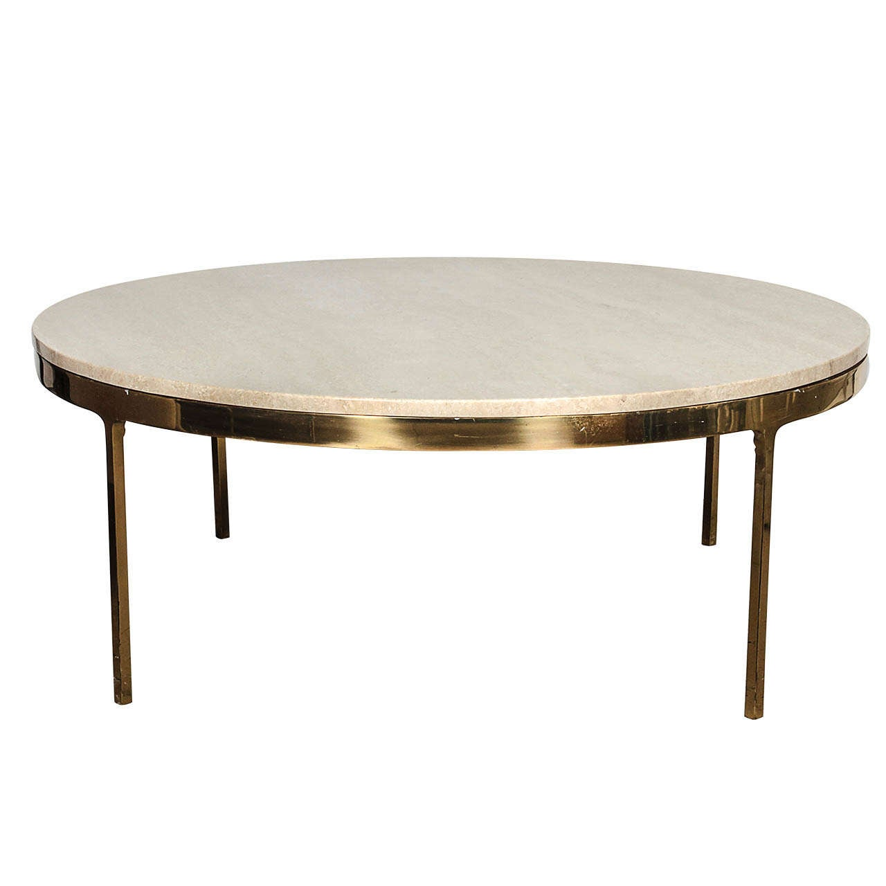 Brass and travertine round coffee table by nico zographos at 1stdibs Brass round coffee table
