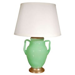 Green, Opaline Steuben Lamp