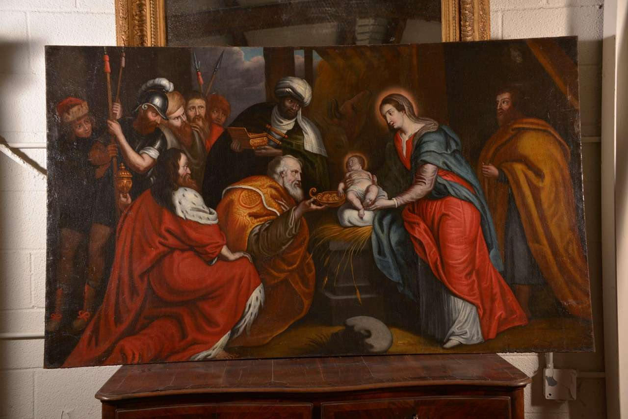 Beautiful Flemish 17th century oil on canvas painting depicting the adoration of the magi. Vivid color and wonderful quality of painting by an unknown Italian painter. No frame.