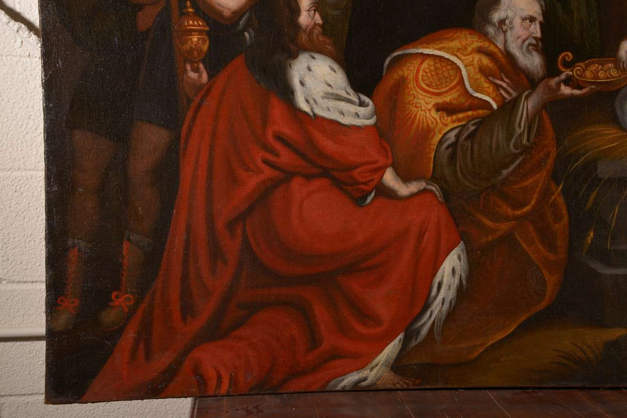 Flemish 17th Century Oil on Canvas Painting of the Adoration of the Magi In Good Condition For Sale In Houston, TX