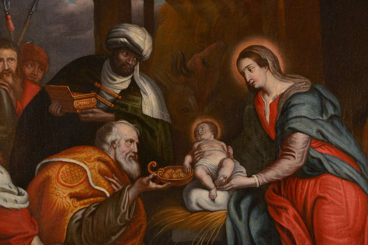 Flemish 17th Century Oil on Canvas Painting of the Adoration of the Magi For Sale 1